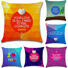 Love words and colorful Geometric Pillow Case Cushion Cover Sofa chair Decoration for home office friend great gift kids present bohemian geometric set art cushion cover decoration for home house sofa chair seat pillow case kids gift friend bedroom present