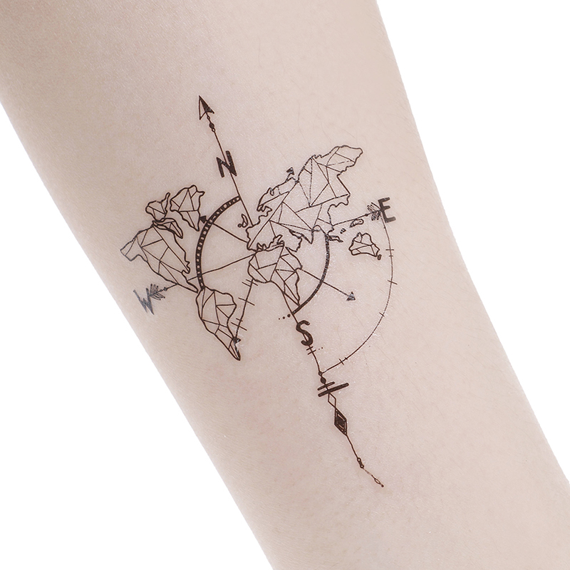 Waterproof World Map Temporary Tattoo Sticker Vintage Map Coordinates South North Body Art
