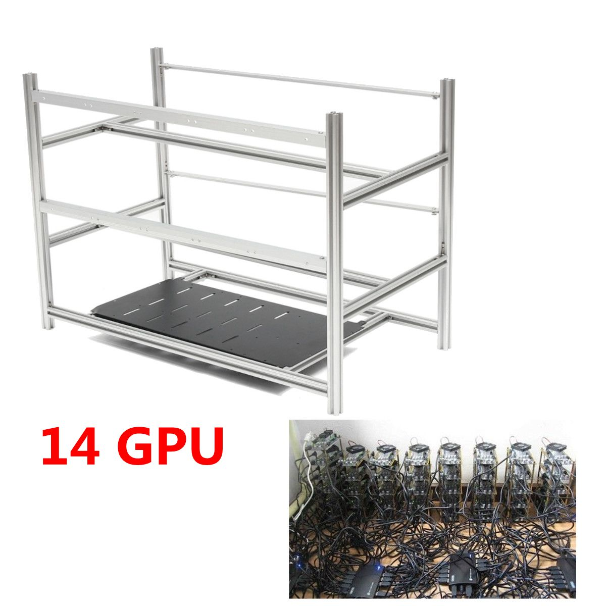 Open Air Mining Rig Stackable Frame Case 10 LED Fans For 14 GPU ETH BTC Ethereum Computer Mining Case Server Chassis Without Fan open air mining rig stackable computer mining frame case 10 led fans for 14 gpu eth btc ethereum frame case server chassis