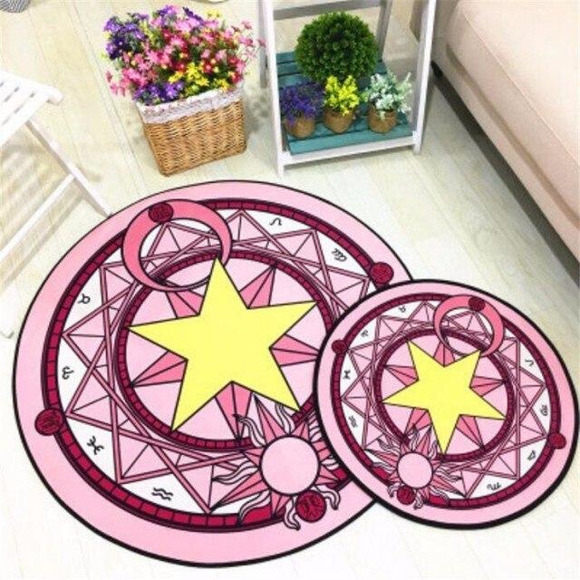 Круглый ковер аниме карта Captor Sakura Волшебные ковры для гостиной нескользящий коврик стул Пол коврик для домашнего декора детская комната подарок
