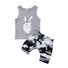 Toddler Baby Boys Kids Clothes T-shirt Tee Tops + Shorts Camouflage Pants Outfits Sets