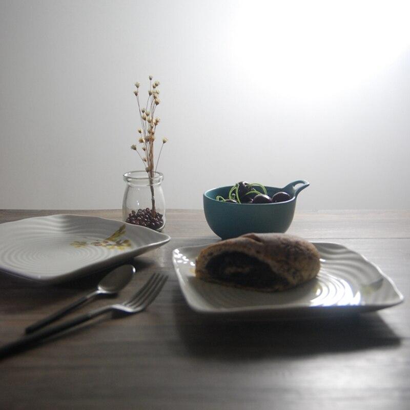 Bone China 8 Inch Dishes \u0026 Plates Ceramic On glazed Square Plate Sushi Cake Dessert Thread Dish Brand High Quality Zakka Style-in Dishes \u0026 Plates from Home ... & Bone China 8 Inch Dishes \u0026 Plates Ceramic On glazed Square Plate ...