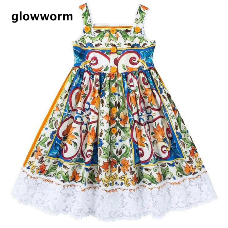GlowwormKids Girls Dress 2018 New Runway Flower Girl Dress Lace Dress Sleeveless Girls Clothes 2-7T hs-026 разделители для пальцев dewal синие розовые 8 шт упак page 4 page 2