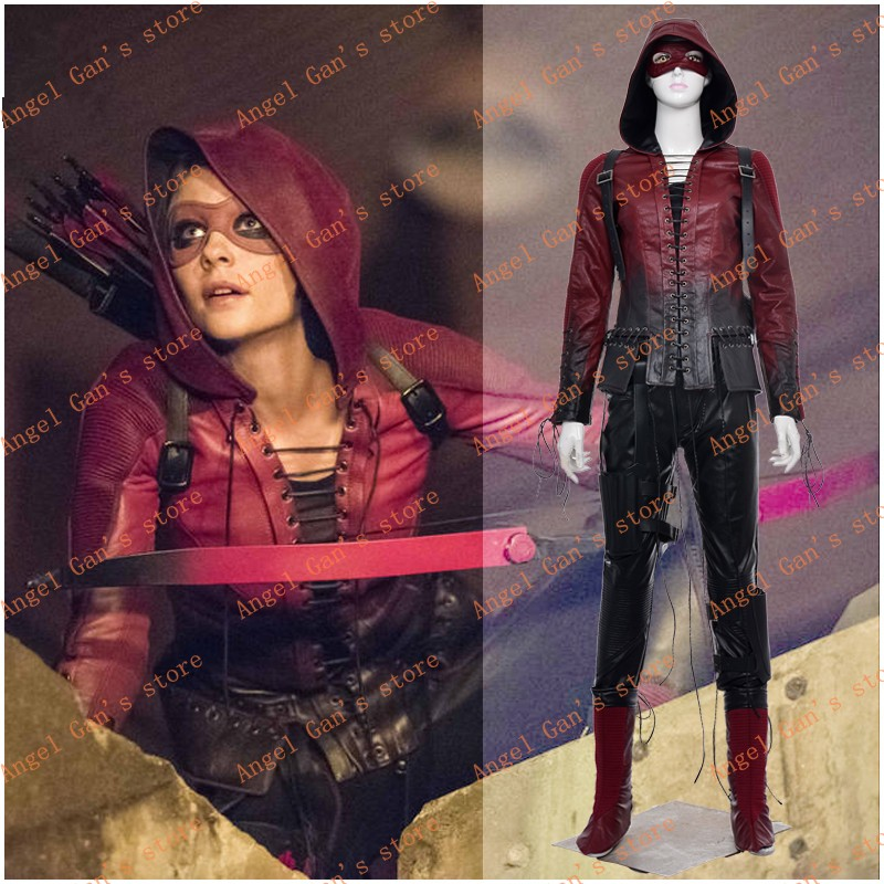 Free shipping New Custom made High Quality Green Arrow season 4 Red Arrow Thea Queen Cosplay Costume for Halloween