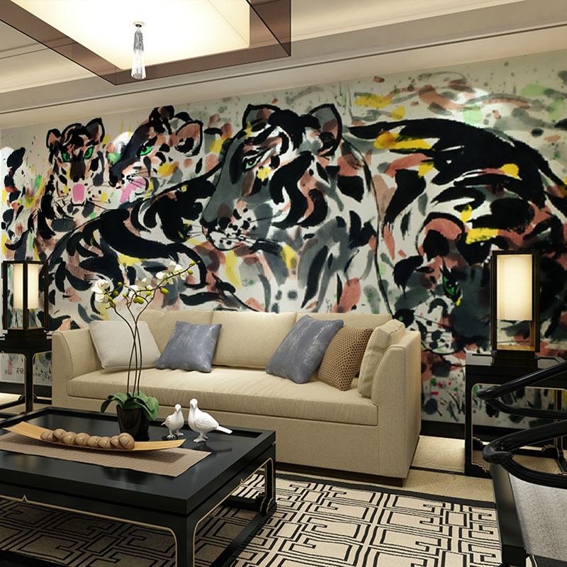 Wonderful Aliexpress.com : Buy Custom Size Wall Murals Papel De Parede Chinese  Traditional Painting Tigers Print Wallpaper Mural For Living Room Bedroom  Decor From ... Part 10