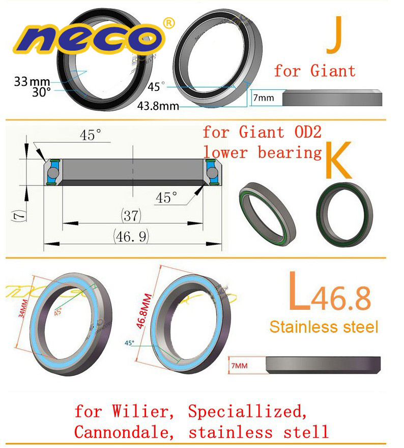 Neco Bearing Road Bike MTB Headset Bearing Bicycle 38 39 41 41 8 43 8 44 46 8 46 9 47 48 9 49 50 8 51 51 8 52 mm for Giant in Bearings from Sports Entertainment