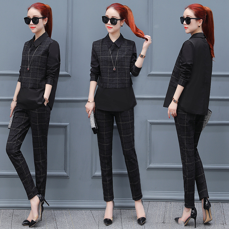 Large Size Plaid 2 Piece Set Women Conjunto Feminino Women's Tracksuit Ensemble Femme Deux Pieces Year-old Female Costume