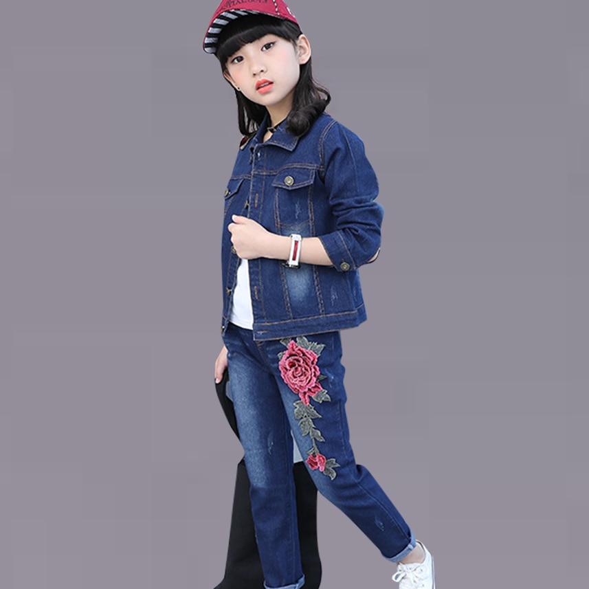 bdfb94285 Autumn Rose Denim Children's Clothing Jacket+Jeans Fashion Girls Clothing  Teenage Winter Costumes For Girls