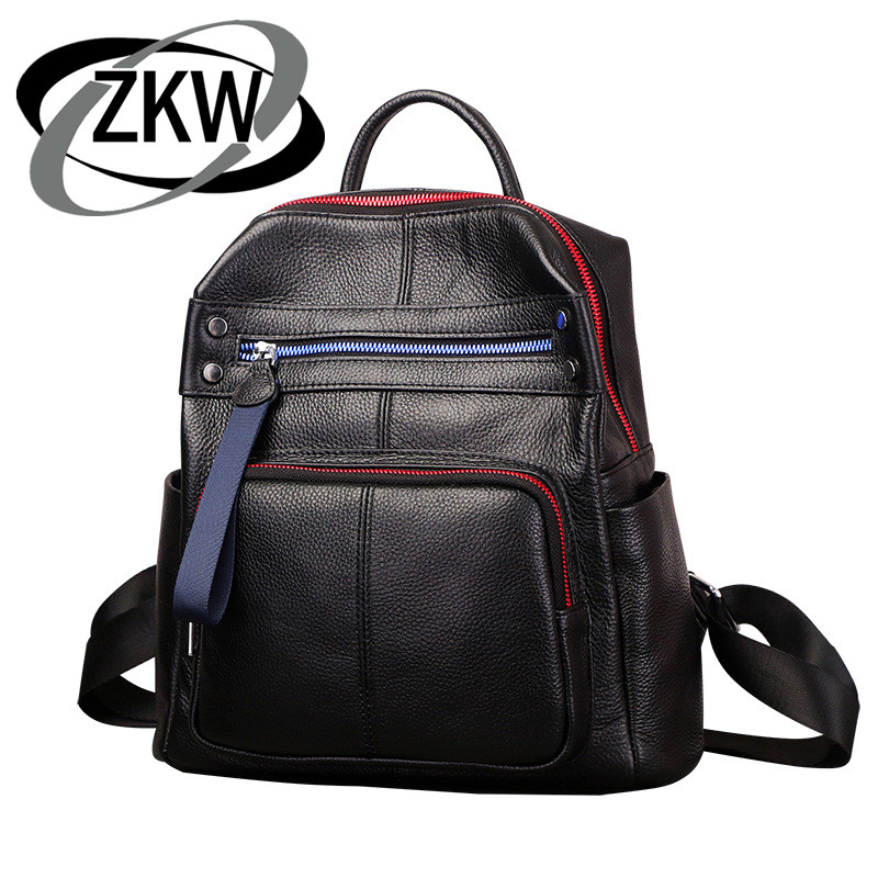 ZKW Genuine Leather Women large capacity Travel  Bag 2019 New Top Layer Cowhide Korean Fashion Casual Backpack Travel Bags-in Backpacks from Luggage & Bags    1