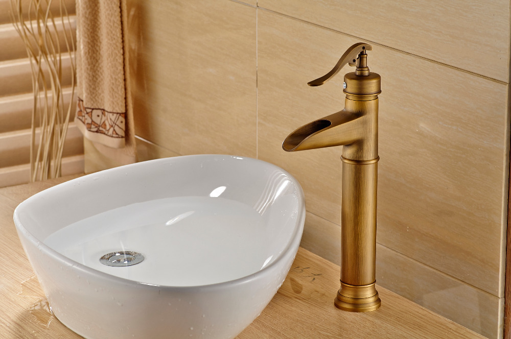 ФОТО Antique Brass Tall Waterfall Bathroom Basin Faucet Sink Mixer Tap Spout Faucet
