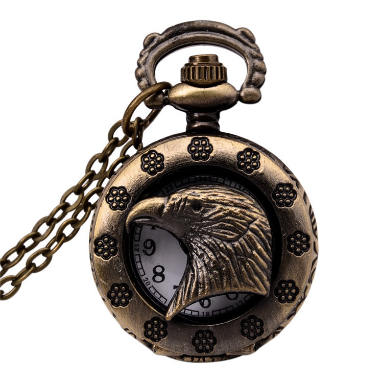 Eagle Vintage Bronze 31.5 Chain Antique Retro Bronze Tribal Eagle Alloy Quartz Pocket Watches Necklace Chain Gift W211 retro bronze flower hollow alloy quartz pocket watches necklace chain gift w208 exquisite designs new vintage casual trendy