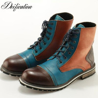 Deification Mixed Colors Lace up Ankle Boots Patchwork Real Leather Motorcycle Cowboy Martin Boots New Botas Militares Shoes Men