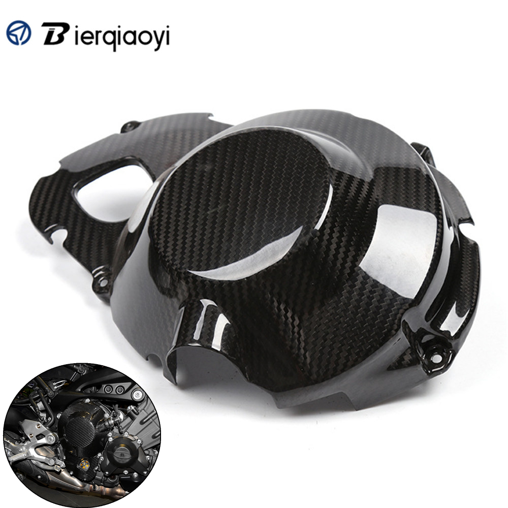 Motorcycle Carbon Fiber MT-09 FZ 09 Right Engine Stator Case Plug Clutch Cover Protector For Yamaha MT09 MT 09 FZ-09 2013-2017