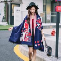 Women Cashmere Scarves And Inverno Shawl For Ladies Poker Cards Printing Warm Wrap And Winter Fashion