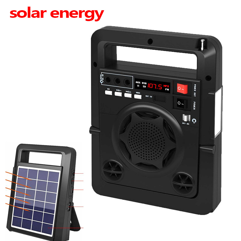 Solar Energy Charge FM Radio TF USB Player Speaker Power Bank Function With Strong LED Flashlight