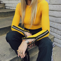 Casual Top Yellow Solid Color T Shirt Open Sleeve Zipper Zip Up Female Slim Round Neck