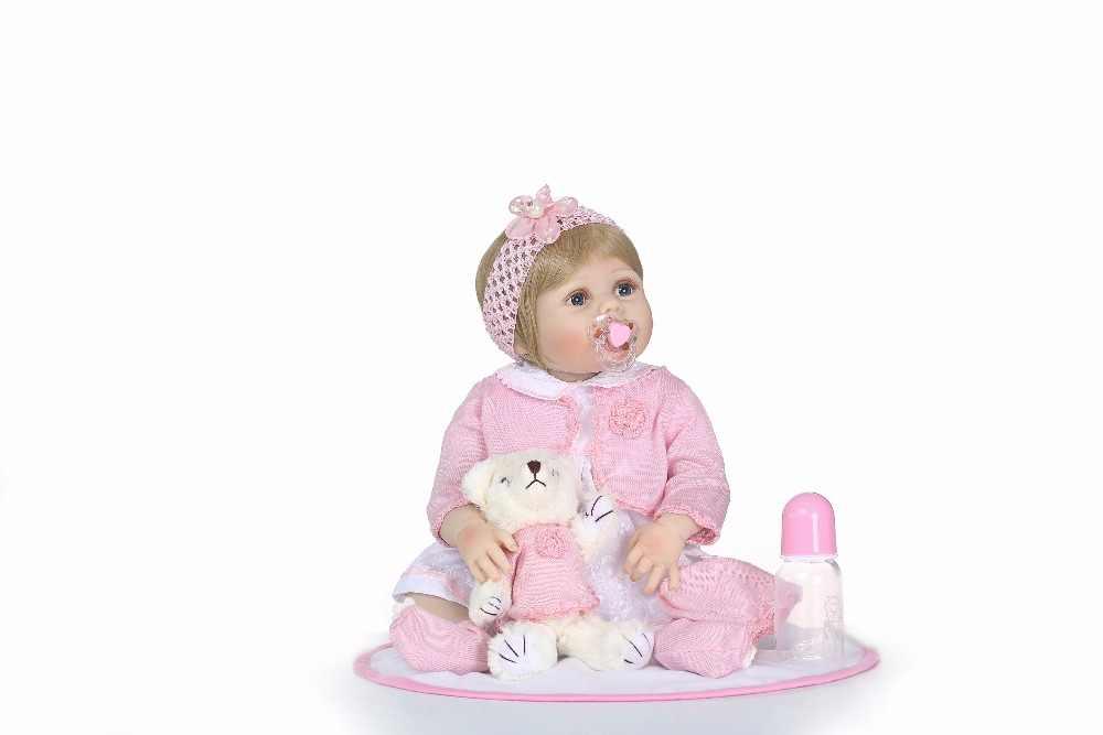 """NPk 22 """"muñeca reborn juguetes para niños niñas regalo completo cuerpo de silicona vinilo reborn bebés real vivo reborn metoo brinquedo"""