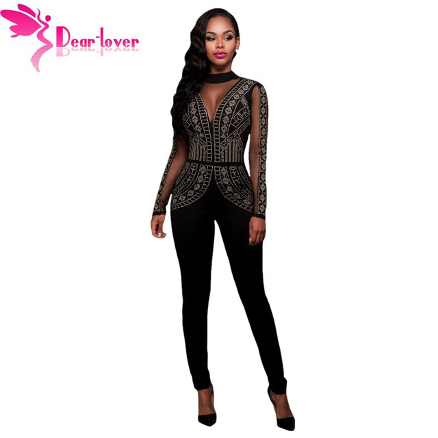 ce29cb02bfb0 Dear-Lover Long Jumpsuits Playsuits Steampunk Studded Pattern Mesh Insert  Night Club Rompers Overalls for
