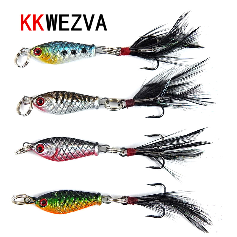 KKWEZVA 4pcs/3cm/5g Fishing Lure Fish Shape Baits Isca Artificial Pesca Fishing Lures Carp Fishing Wobbler Peche Metal Spoon