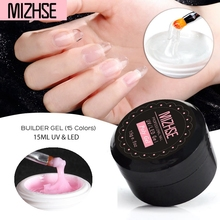MIZHSE UV Gel Glass Hard Jelly Quick Building Poly Gel Nail Extension Acrylic Nail Art Crystal Poly Gel Nail Extension Set 15g