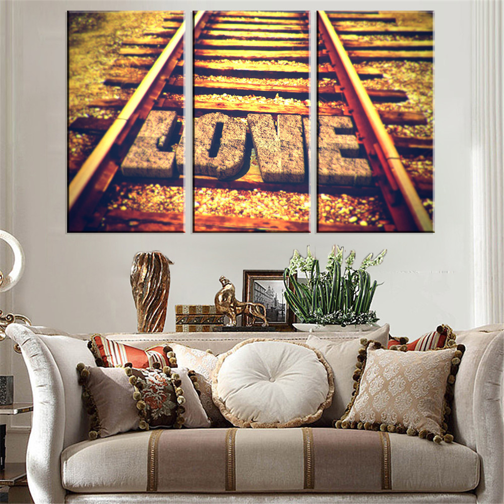 No Frame Canvas Painting Langscape Love on Railway Home Decor Poster Decorative Paintings Modern Wall Art Print Modular 3 Panel