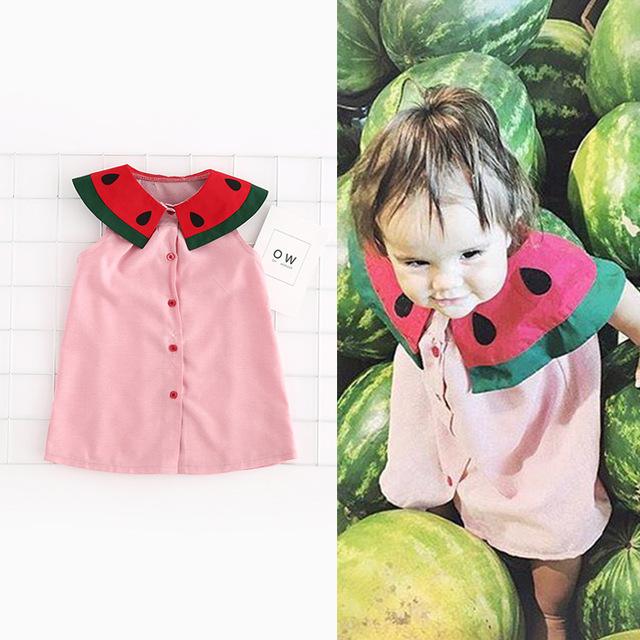 Meninas Do Bebê infantis Algodão Melancia Vestidos de Roupas Vestidos de Crianças Para O Verão Crianças Princesa Flor