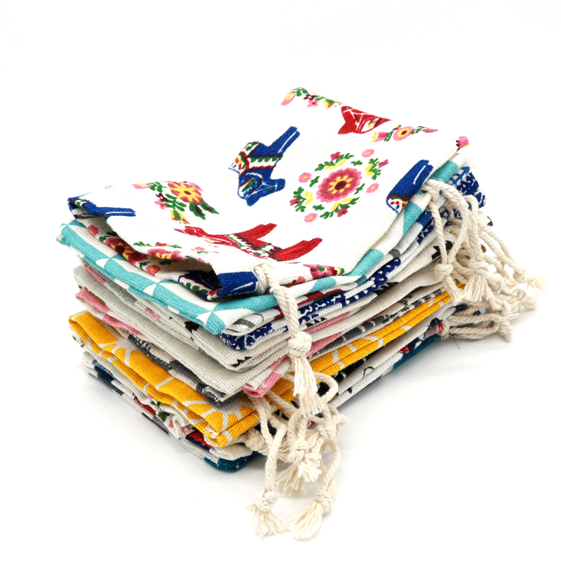 Hot Sale 1pc Big Cotton Bags 19x24cm Various Designs Drawstring Pouch Linen Gift Bag Cosmetics Boutique Jewelry Packaging Bags