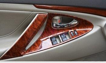 อุปกรณ์เสริมสำหรับ Toyota Camry 2006-2011 ภายในสีไม้ผู้ถือประตู Trims กรอบแผงชุดซ้อนทับฝาครอบรถจัดแต่งทรงผ...