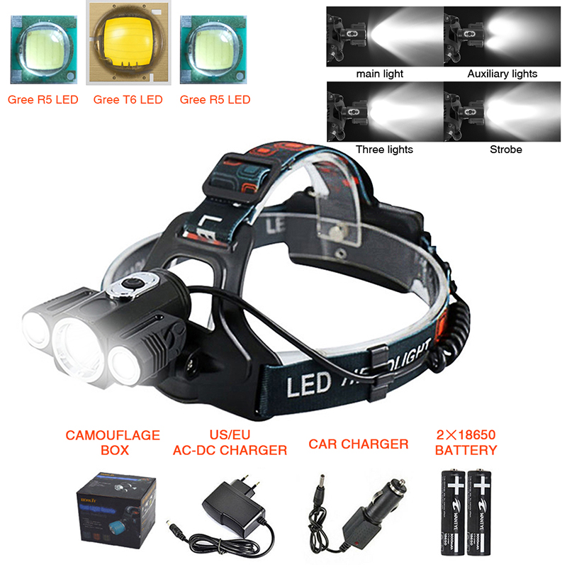 Head Lamp T6 3 Lampu 4 Mode Dimmable Tahan Air 6000 Lumens LED Headlamp Senter Mobil-charger Baterai Isi Ulang Headlamp