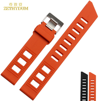 Silicone Wristband Bracelet Rubber Watchband 20mm Accessories Wristwatch Watch Band Waterproof Rubber Strap Orange Black