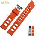 silicone wristband bracelet Rubber watchband 20mm accessories Wristwatch watch band  waterproof  rubber strap orange black