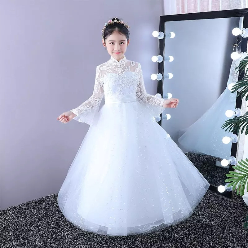 все цены на 2018Autumn Winter New Elegant Children Kids White Color Wedding Party Birthday Long Lace Dress Model Show Piano Girls Prom Dress онлайн