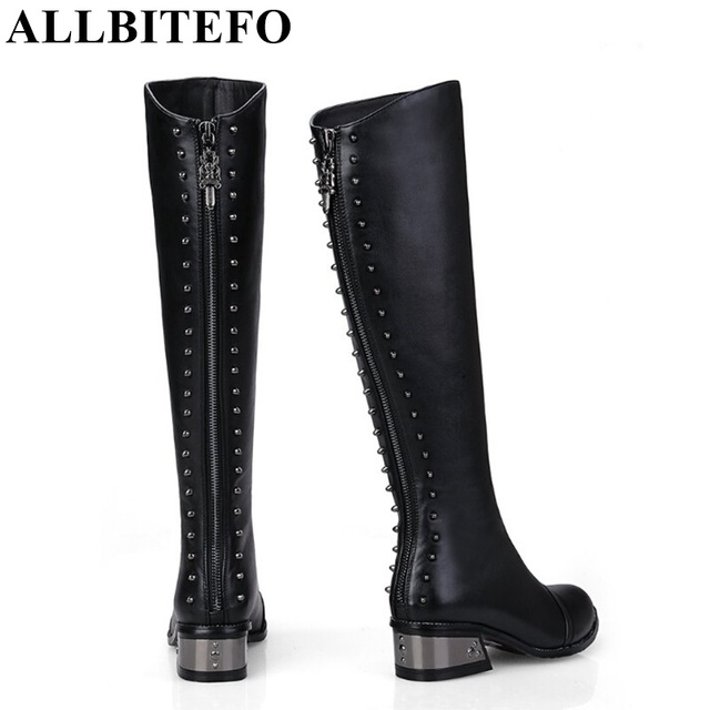 ALLBITEFO Rivets Design Boots Genuine Leather + PU Over The Knee Boots