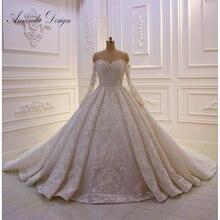 أماندا تصميم الزفاف أثواب قبالة الكتف كامل كم الرباط يزين فستان الزفاف