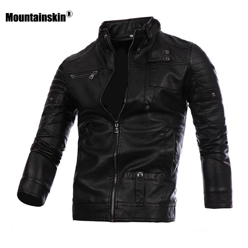 Mountainskin Men's Leather Jackets Motorcycle PU Coat Spring Autumn Casual Male Leather Coats Slim Fit Mens Brand Clothing SA615