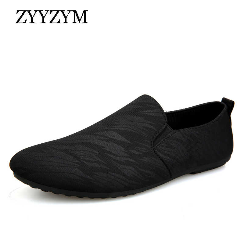 ZYYZYM Men Loafers Casual Shoes Men 2019 Spring Summer Canvas Men Shoes Light Breathable Fashion Flat Footwear