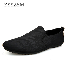ZYYZYM Men Loafers Casual Shoes 2019 Spring Summer Canvas Light Breathable Fashion Flat Footwear