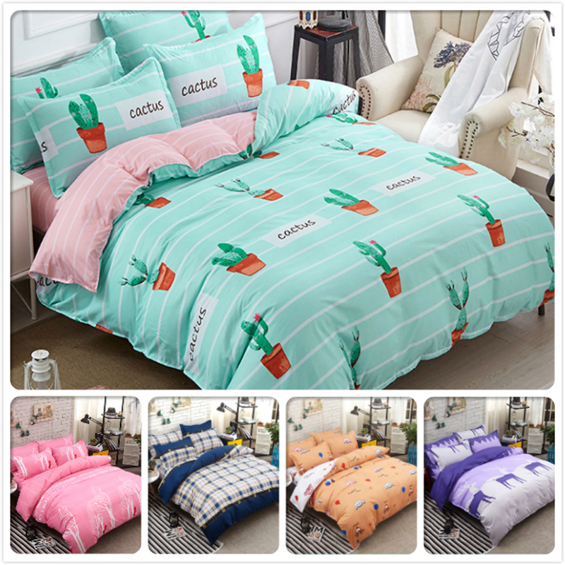 Cactus Stripe 3/4 pcs Bedding Set Cotton Kids Bed Linen Full King Queen Twin Double Single SIze Duvet Cover 4/5/6/7 feet 1.8m 2mCactus Stripe 3/4 pcs Bedding Set Cotton Kids Bed Linen Full King Queen Twin Double Single SIze Duvet Cover 4/5/6/7 feet 1.8m 2m