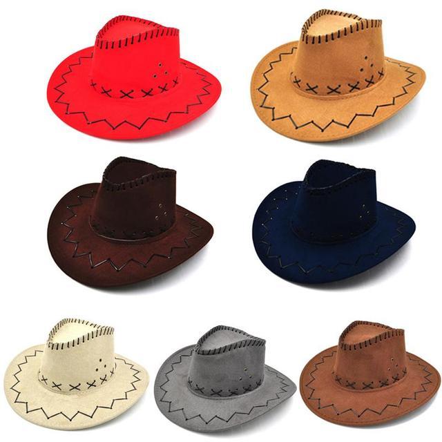 1 PZ Nuovo Cappello Da Cowboy In Pelle Scamosciata Look Wild West Fancy  Dress Uomo Donna 606ff619d3be