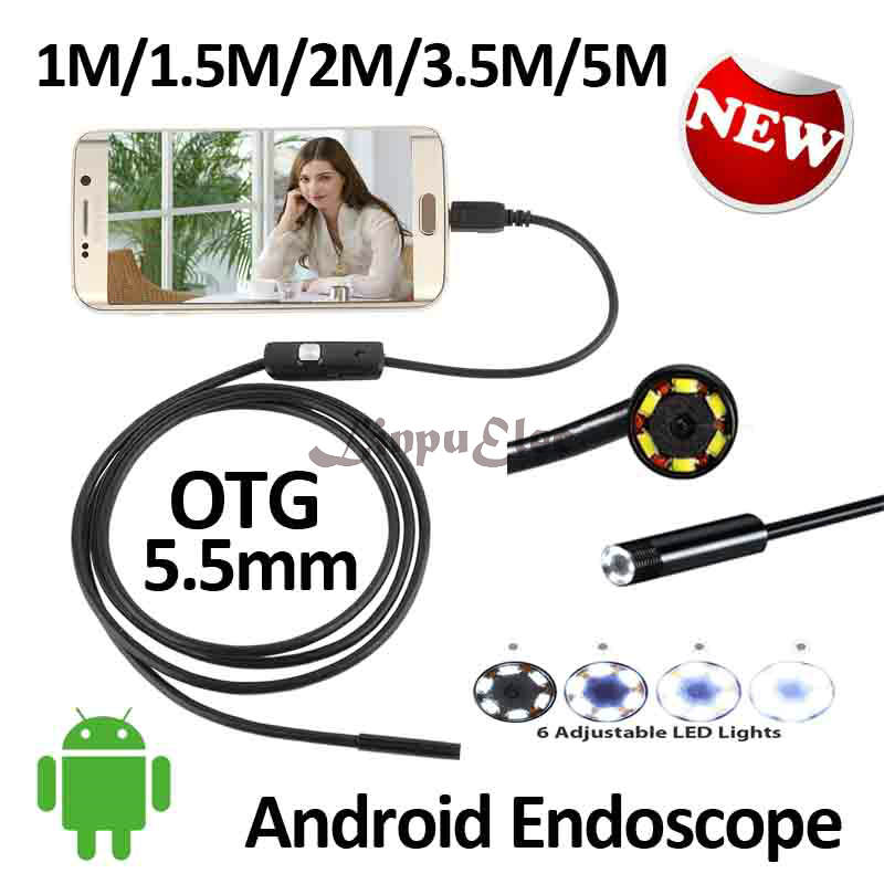 5.5mm OD Smart Android  Mobile USB Endoscope Camera Flexible Snake USB Inspection Borescope Android Camera 1M 1.5M 2M 3.5M 5M eyoyo nts200 endoscope inspection camera with 3 5 inch lcd monitor 8 2mm diameter 2 meters tube borescope zoom rotate flip