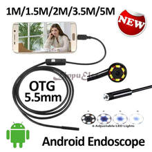 5.5mm OD Smart Android Mobile USB Endoscope Camera Flexible Snake USB Inspection Borescope Android Camera 1M 1.5M 2M 3.5M 5M
