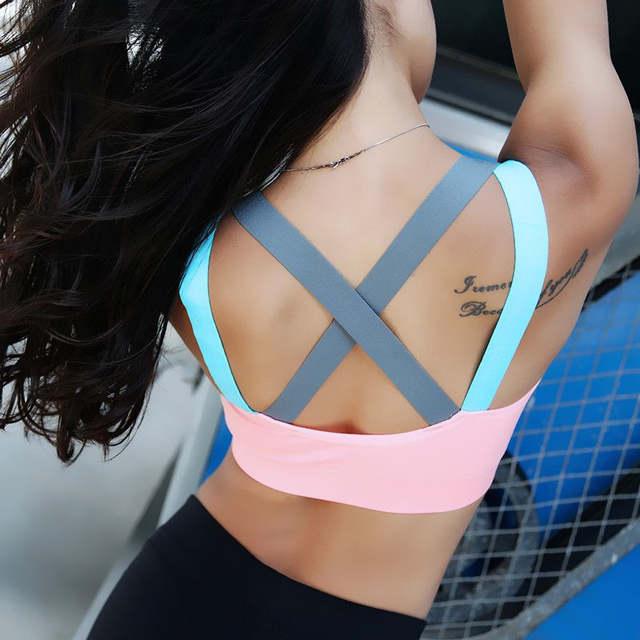 6f3c4cd736 placeholder Woman s Back Cross Compression Sports Bra Sportswear Spaghetti  Strap Fast dry Elastic Running Sport Bra Top