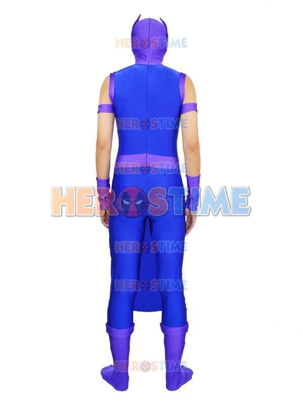 Avengers Hawkeye Costume Spandex Purple & Blue Avengers Hawkeye - Կարնավալային հագուստները - Լուսանկար 3