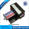 2016 hot selling A4 size flatbed printer machine for print clothes Tshirt on hot sales