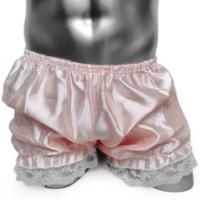 Sexy Mens Lingerie Silky frilly Sissy Male bloomers Panties Gay Underpants Fashion Lovely Lace crossdress Shorts Underwear