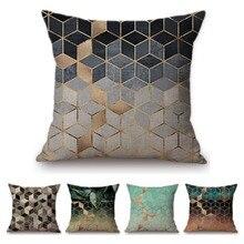 Современные скандинавские украшения, художественные геометрические кубики, красочные диванные наволочки, розовый зеленый Растительный черный белый чехол для подушки на стул