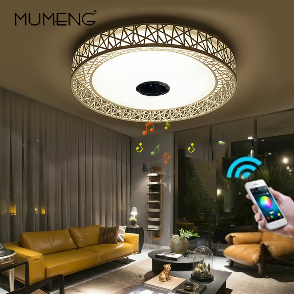 mumeng RGB Ceiling Light 36W Dimmable Colorful Party Lamp Bluetooth speaker Music Audio Luminaria 90 265V
