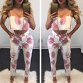 2017 Summer Tracksuit Ladies 2 Two Piece Set Women Sexy Ensemble Femme Ruffles leaf Bra Cropped Top+Elastic Leggings Suit D441