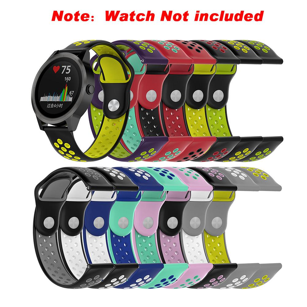 New 20MM Bicolourable Silicone Replacement Watch Strap Wrist Band Strap for Garmin vivoactive3 vivomove HR vivomove Watch цена