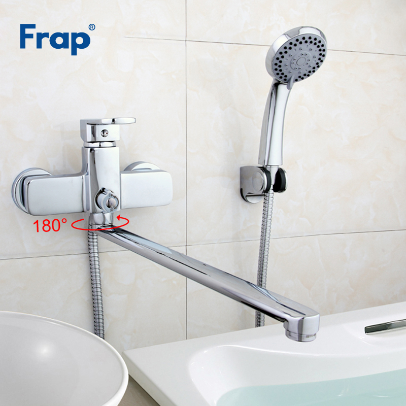 Frap Brass Bathtub 35cm Outlet Pipe Bathroom Shower Faucet With ABS Shower Head Wall Mounted Faucet